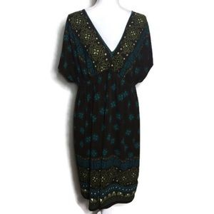 Brown and teal dress X1